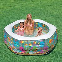 """Детский бассейн, бассейн детский надувной Intex 56493 NP """"Океанский Риф"""" размер 191*178*61 см , объём: 510 л."""