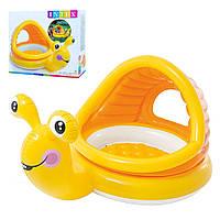 Детский бассейн, бассейн детский надувной Intex 57124 Улитка размер 145-102-44см , с навесом, 2-3года, 53 л.