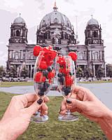 """Картина по номерам для взрослых и детей """"Ягодный бокал на фоне Берлинского Собора"""" 40 х 50 см, Без Коробки"""