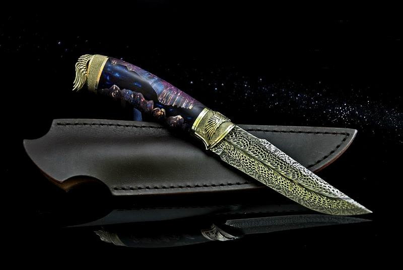 """Охотничий нож ручной работы """"Dark Angel-6"""", мозаичный дамасск (наличие уточняйте)"""