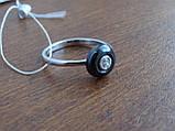 Кольцо серебряное с темным камнем(керамика), фото 6
