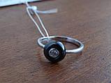 Кольцо серебряное с темным камнем(керамика), фото 7