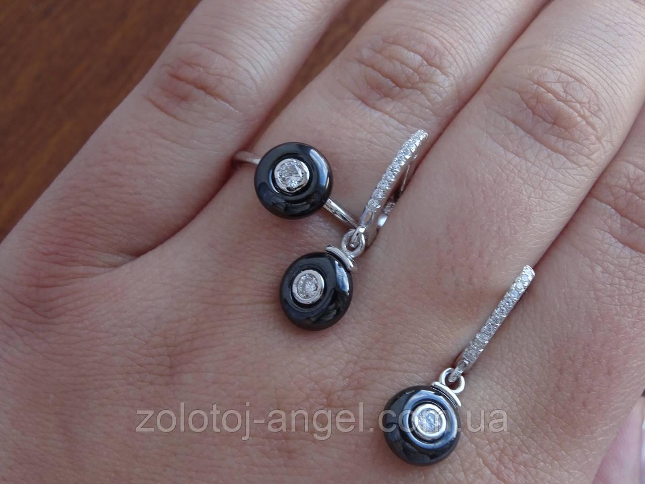 Кольцо серебряное с темным камнем(керамика)