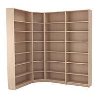 Стеллаж угловой IKEA BILLY 215 135x237x28 см Светло-коричневый 492.499.47, КОД: 386155