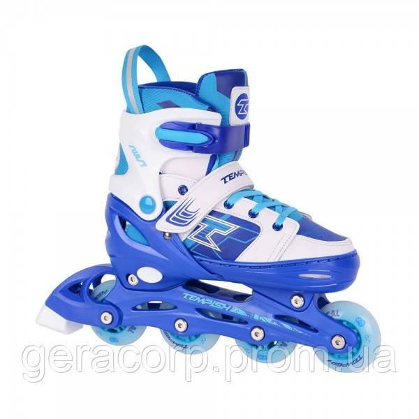 Детские раздвижные роликовые коньки Tempish Swist Flash синие (светящиеся колеса)  30-33