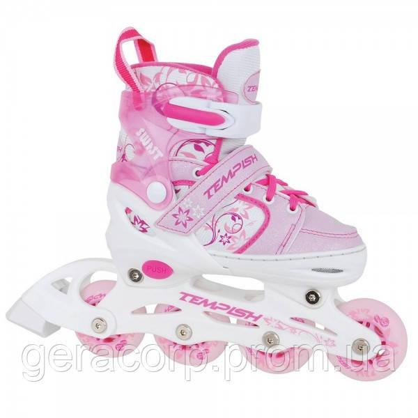 Детские раздвижные роликовые коньки Tempish Swist Flash розовые (светящиеся колеса)