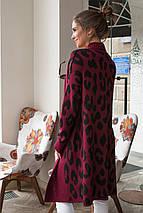 Вязаный женский кардиган Лео (марсала, черный), фото 2