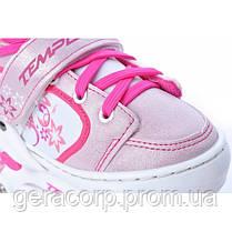 Детские раздвижные роликовые коньки Tempish Swist Flash розовые (светящиеся колеса)  , фото 2