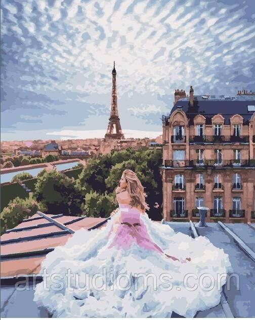 Картина по номерам для взрослых и детей Парижские мечты 40 х 50 см, Без Коробки