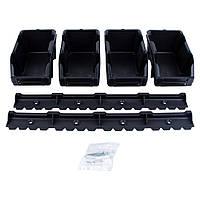 Набор лотков для метизов 90х195х420 мм 8 шт с креплениями (черный) Sigma (7418371)