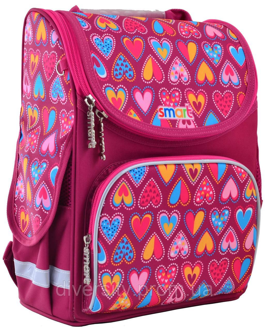 """Школьный рюкзак,каркасный PG-11 """"Hearts Style"""" серия """"Smart 555920"""