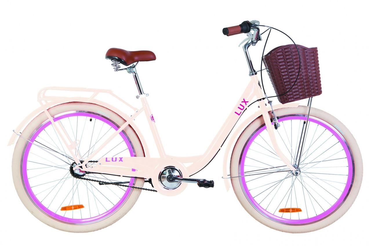 """Велосипед 26"""" Dorozhnik LUX 14G планет. St с багажником зад St, с крылом St, с корзиной Pl 2019 (бежевый)"""
