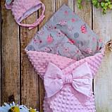 Двосторонній конверт-ковдру плюшевий зі знімним утеплювачем весна-літо-осінь, фото 5