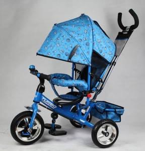 Велосипед трехколесный с ручкой для мамы детский Turbo Trike  надувные колеса, фото 2