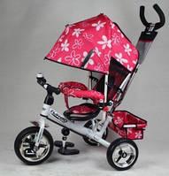 Велосипед трехколесный с ручкой для мамы детский Turbo Trike  надувные колеса