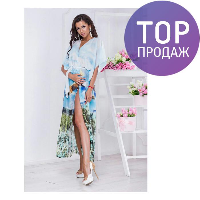 Пляжная туника голубая, шифон-купон / длинная женская туника 2017, модная