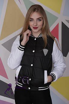 Женская куртка-бомбер| Распродажа черный, 46