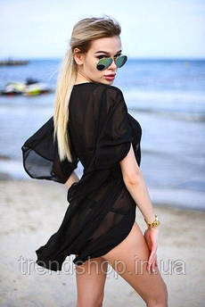 """Пляжная туника """"Морской бриз"""" короткая 42-44, черный"""