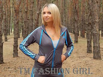 """Женская спортивная кофта Adidas """"Триколор"""" с длинным рукавом. Распродажа 42, серый с голубыми лампасами"""