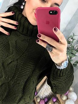 """Женский вязаный свитер под горло""""Soft"""" темно-зеленый"""