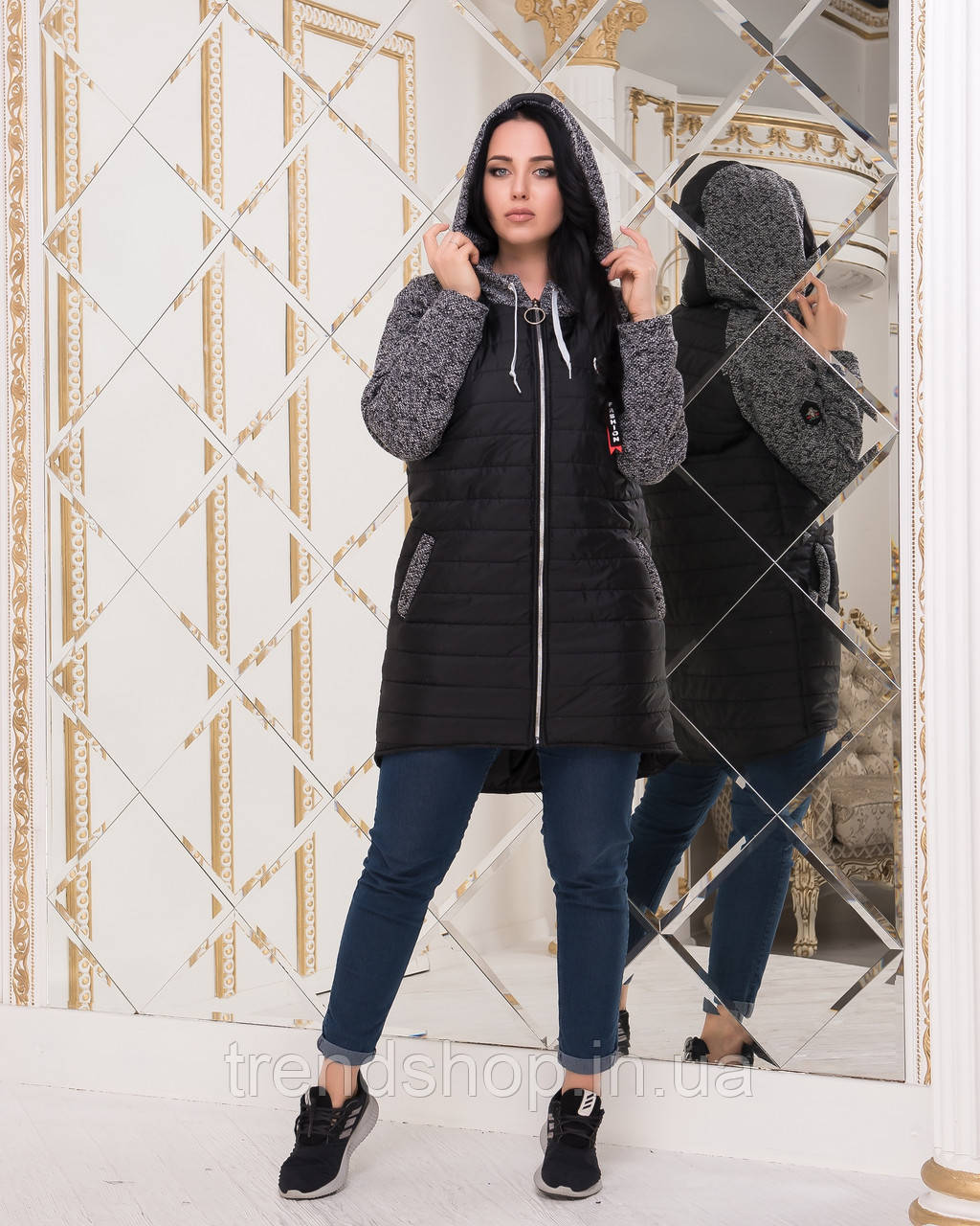 "Демисезонная куртка на молнии ""Melange""| Норма и батал 50-52"