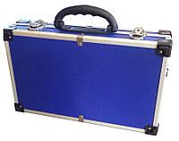 Чемодан для инструмента алюминиевый с перегородками 395*240*90 мм (синий) Htools 79K222-s