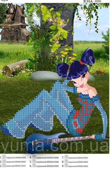 Детская схема для вышивки бисером Муза