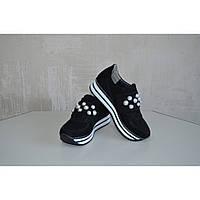 Женские кроссовки из натуральной замши DG черный жемчуг, фото 1