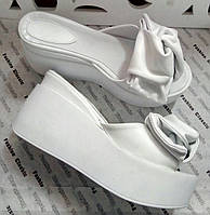 Сабо Star Банты! Босоножки белые кожа женские кожаные шлепанцы на платформе