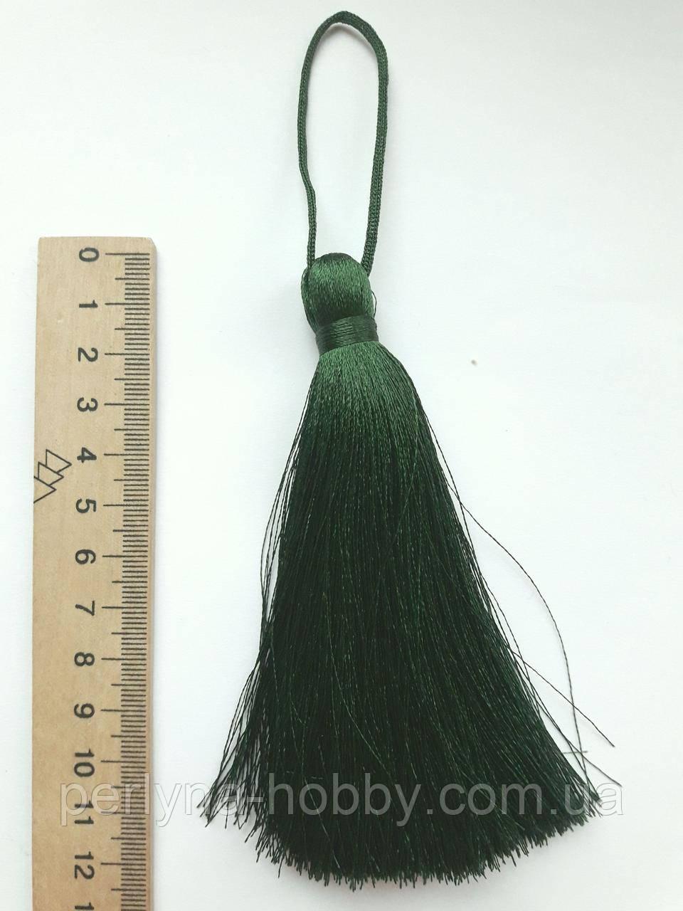 Кисти шелковые декоративные ( 1 шт ) Китиця декоративна велика 10-11 см, темно-зелена 0170, 1 шт.