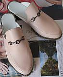 Мюли в стилі Gucci жіночі.! Сабо на низькому ходу з закритим носком Шльопанці Гучи колір блакитний, фото 7