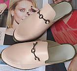 Мюли в стилі Gucci жіночі.! Сабо на низькому ходу з закритим носком Шльопанці Гучи колір блакитний, фото 8