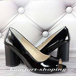 Туфли  женские  лаковые , черные  V 1244