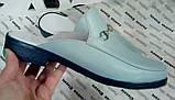 Мюли в стилі Gucci жіночі.! Сабо на низькому ходу з закритим носком Шльопанці Гучи колір блакитний, фото 2