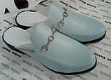 Мюли в стилі Gucci жіночі.! Сабо на низькому ходу з закритим носком Шльопанці Гучи колір блакитний, фото 3