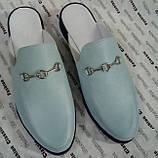 Мюли в стилі Gucci жіночі.! Сабо на низькому ходу з закритим носком Шльопанці Гучи колір блакитний, фото 6