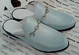 Мюли в стилі Gucci жіночі.! Сабо на низькому ходу з закритим носком Шльопанці Гучи колір блакитний, фото 5