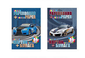 Набор: картон+бумага KIDIS серия STREET RACING(спорт машины)