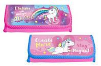 Пенал школьный мягкий KIDIS для девочки 1й+резинки (розовый,малиновый) серия UNICORS (единороги)