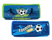 Пенал на 2 молнии, синий, зелёный KIDIS, серия FOOTBALL (футбол)