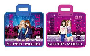 Тека-портфель з пластиковими ручками 30*34 см KIDIS SUPER MODEL (дівчата)
