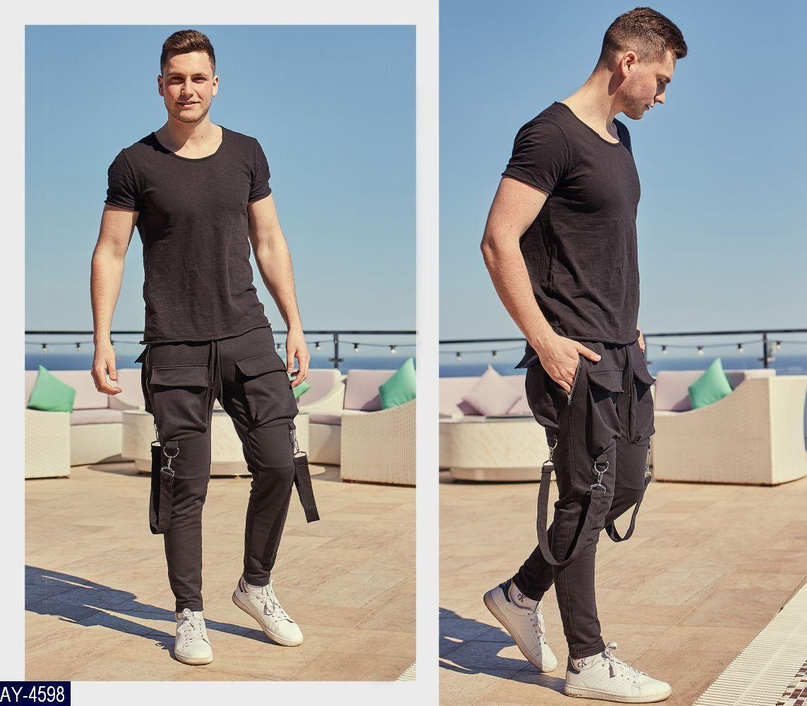 Мужские классные спортивные штаны зауженные,шесть карманов,декор карабины (турецкая двух нитка) 3 цвета
