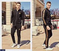 Мужской весенне-осенний спортивный костюм,штаны на манжете,4 кармана на змейке (турецкая двухнитка)цвет-черный