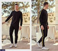 """Мужской спортивный костюм """"off white"""" декор плотная тента с плетенным знаком (турецкая двухнитка)цвет-черный"""