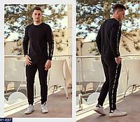 """Мужской спортивный костюм """"fila"""" декор плотная тента с плетенным знаком (турецкая двухнитка) цвет-черный"""