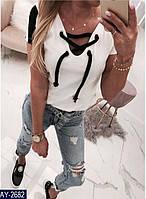 Женская классная модная легкая летняя футболка с коротким рукавом (турецкая двух нитка ) цвет-белый (батал)