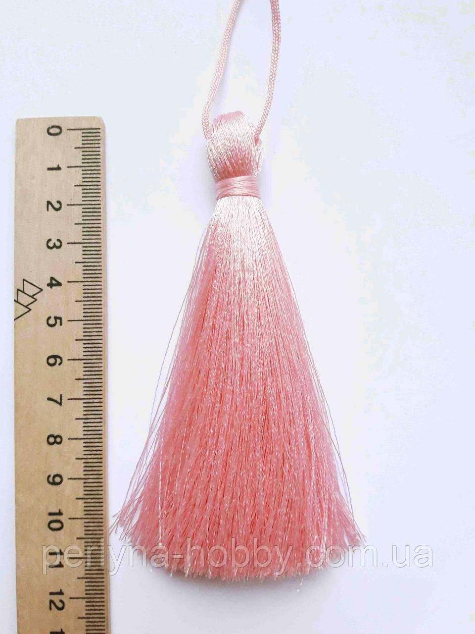 Китиця текстильна декоративна шовкова велика 10-11 см, рожева, 0184, 1 шт.