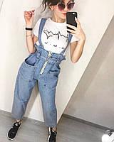 Джинсовый комбинезон женский с квадратными карманами  сер014, фото 1