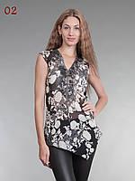 Блузка шифон темно серая, фото 1