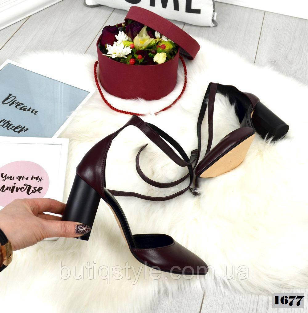 Элегантные женские туфли бордо на каблуке натуральная кожа